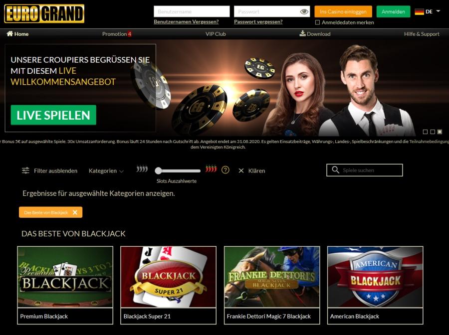 eurogrand casino blackjack