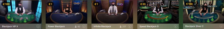 Luckydays Live Blackjack von Evolution Gaming
