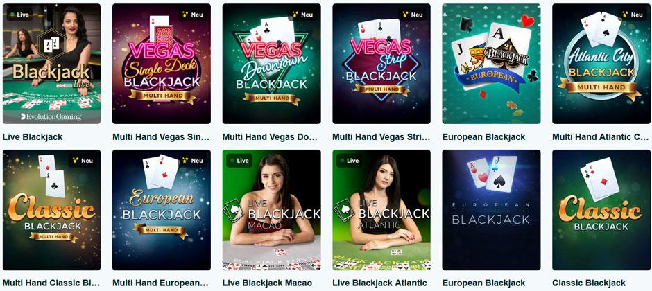 BlackJack Varianten online Casino