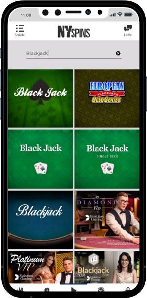 NYSpins mobile Blackjack